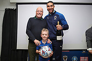AFC Wimbledon defender Terell Thomas (6) receiving man of match award during the EFL Sky Bet League 1 match between AFC Wimbledon and Bolton Wanderers at the Cherry Red Records Stadium, Kingston, England on 7 March 2020.