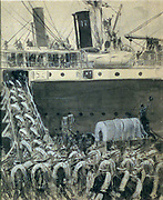 American troops boarding transport steamer, Spanish-American war. Drawing in pen and ink, wash, Chinese white, crayon.[1898]