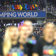 ORLANDO, FL - JUNE 18:  Fifty balloons are seen in section P08 in memory of the 49 victims of the Pulse nightclub shooting as well singer Christina Grimmie who was shot in Orlando last weekend, as the Orlando Gay Chorus performs at halftime of a MLS soccer match between the San Jose Earthquakes and the Orlando City SC at Camping World Stadium on June 18, 2016 in Orlando, Florida. (Photo by Alex Menendez/Getty Images) *** Local Caption *** Christina Grimmie; Orlando Gay Chorus