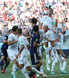 VOLGOGRAD, June 28, 2018  Robert Lewandowski (top) of Poland competes during the 2018 FIFA World Cup Group H match between Japan and Poland in Volgograd, Russia, June 28, 2018. (Credit Image: © Yang Lei/Xinhua via ZUMA Wire)