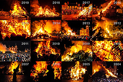 Due to the current Government Covid guidelines and the ban on all outdoor events, the 2020 Biggar Hogmanay Bonfire, unfortunately, did not take place, breaking a tradition going back hundreds of years.   This is a montage of the bonfire on Hogmanay from recent years.<br /> <br /> (c) Andrew Wilson | Edinburgh Elite media