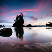 Sunset along Second Beach in Olympic National Park, Washington.