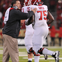Oct 23, 2009; West Point, N.Y., USA; Rutgers head coach Greg Schiano encourages his team after a successful field goal during Rutgers' 27 - 10 victory over Army at Michie Stadium.