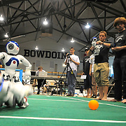 "May 2, 2009 -- BRUNSWICK, Maine. The ""Northern Bites "" team watches closely as their Nao humanoid robot battles for the ball with a competing robot from The University of Texas. Bowdoin hosted the  2009 RoboCup U.S. Open this weekend. Competitors were tasked with creating software for two-legged robots which could independently play soccer with each other. ""Once we put them on the field, they are completely autonomous,""  said Bowdoin Professor of Computer Science and ""Northern Bites"" team advisor, Eric Chown said. ""I'm extremely proud of every one on this team. They are competing against teams with students from multiple institutes and graduate students as well. They are a talented and hard-working group!"" Northern Bites finished fourth out of four teams participating due to injuries to the robots in early play. Photo by Roger S. Duncan."