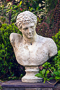 Roman bust in private yard, Atlanta, GA