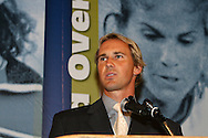 28 August 2006: New York Red Bulls player Chris Henderson presents Phil Anschutz (not pictured) for induction. The National Soccer Hall of Fame Induction Ceremony was held at the National Soccer Hall of Fame in Oneonta, New York.