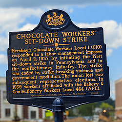 Hershey, PA, USA - June 19, 2013: The Chocolate Workers Sit-Down Strike Historic Marker in downtown Hershey, PA.