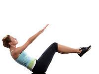 woman paripurna navasana boat pose yoga on Abdominals workout posture on white background
