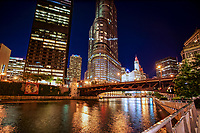 Chicago Riverwalk & Wabash Avenue Bridge
