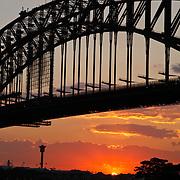 Sunset under the Sydney Harbour Bridge, taken from Kirribilli