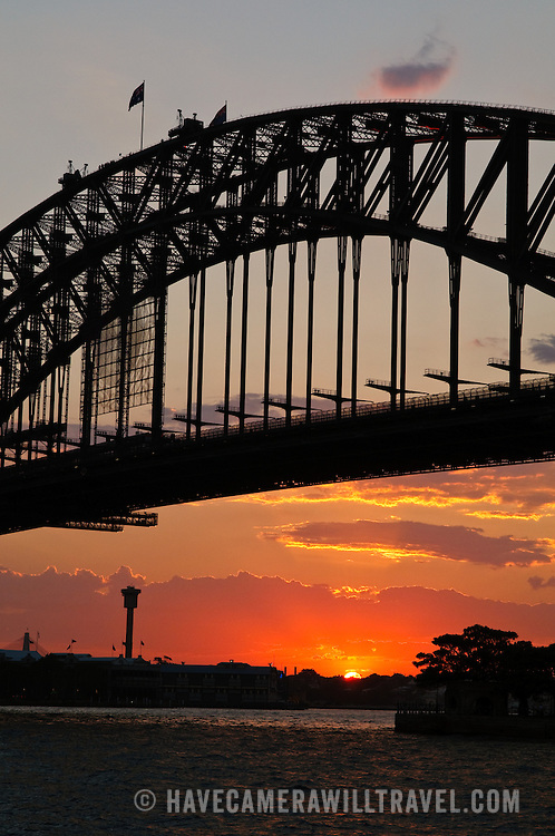 Sunset under the Sydney Harbour Bridge, taken from Kirribilli