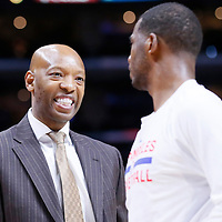 03 December 2014: Los Angeles Clippers assistant coach Sam Cassell talks to Los Angeles Clippers guard Chris Paul (3) during the Los Angeles Clippers 114-86 victory over the Orlando Magic, at the Staples Center, Los Angeles, California, USA.
