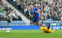 19/04/15 WILLIAM HILL SCOTTISH CUP SEMI-FINAL<br /> INVERNESS CT v CELTIC<br /> HAMPDEN - GLASGOW <br /> Celtic goalkeeer Craig Gordon (right) takes down Marley Watkins to concede a penalty