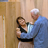 Soprano Sarah Redgwick with director Tim Albery during the Scottish Opera rehearsal for the forthcoming revival of Fidelio. It is directed by Tim Albery . Original design by Stewart Laing, revival designer Simon Daw. It will be conducted by Sir Richard Armstrong. The production opens at Theatre Royal, Glasgow Wed 25 May , Sat 28 May ,Wed 1 Jun, Sat 4 Jun, Tue 7 Jun, Fri 10 Jun . Edinburgh Festival Theatre 15 to 25  June. © Drew Farrell . (Drew Farrell  07721- 735041 ) . Scottish Opera Contact : Press Manager Libby Jones Tel 0141 248 4567. Note to Editors:  This image is free to be used editorially in the promotion of the forthcoming production. Without prejudice ALL other licences without prior consent will be deemed a breach of copyright under the 1988. Copyright Design and Patents Act  and will be subject to payment or legal action, where appropriate.
