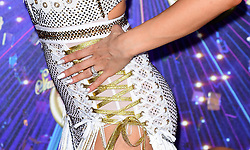 A detailed view of Katya Jones' hand arriving at the red carpet launch of Strictly Come Dancing 2019, held at BBC TV Centre in London, UK.