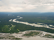 Aerial view of the meeting of the Susitna River (above) and Chulitna River near Talkeetna, Alaska.
