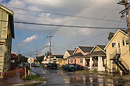 September 2, 2013  New Orleans, LA, Rainbow after summer shower in the uptown neighborhood.