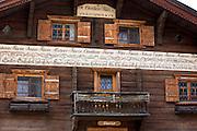 Gasthof Gotschna restaurant, 19th Century built 1841, in Serneus near Klosters in Graubunden region, Switzerland