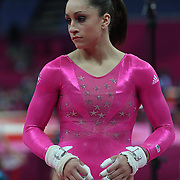 Jordyn Wieber, USA, prepares for the uneven bars during the Women's Artistic Gymnastics podium training at North Greenwich Arena during the London 2012 Olympic games preparation at the London Olympics. London, UK. 26th July 2012. Photo Tim Clayton