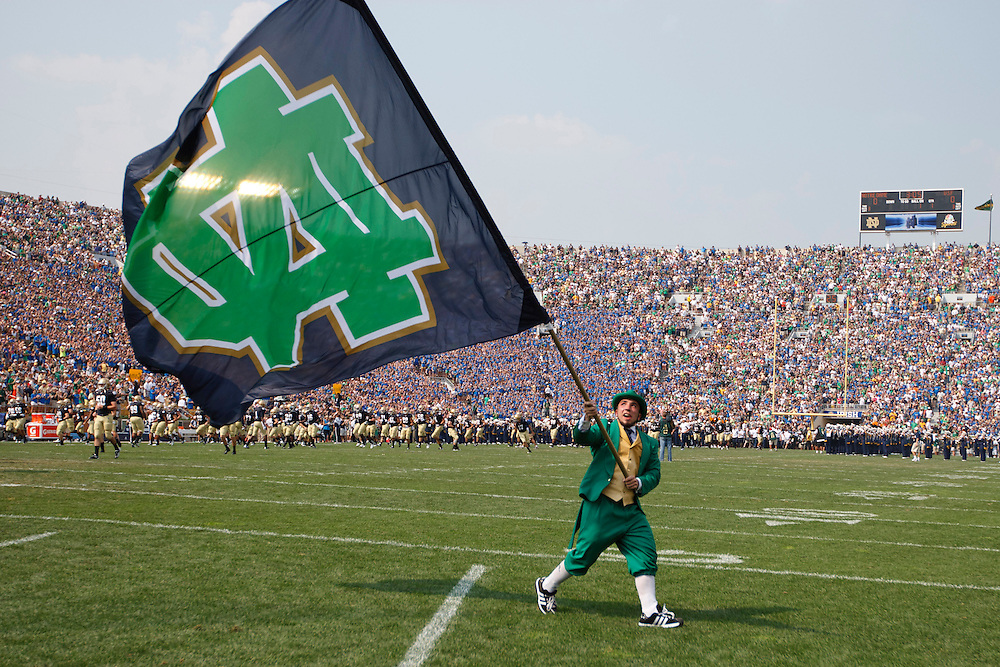 Notre Dame leprechaun Michael George during pregame of NCAA football game between Notre Dame and South Florida.  The South Florida Bulls defeated the Notre Dame Fighting Irish 23-20 in game at Notre Dame Stadium in South Bend, Indiana.