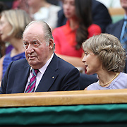 LONDON, ENGLAND - JULY 15:  Juan Carlos I, former King of Spain and Sofa of Spain at the Ladies Singles Final match between Garbine Muguruza of Spain against Venus Williams of The United States in the Wimbledon Lawn Tennis Championships at the All England Lawn Tennis and Croquet Club at Wimbledon on July 15, 2017 in London, England. (Photo by Tim Clayton/Corbis via Getty Images)