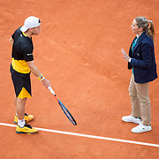 PARIS, FRANCE October 09.  Diego Schwartzman of Argentina argues a line call with chair umpire Aurelie Tourte during his match against Rafael Nadal of Spain in the Semi Finals of the singles competition on Court Philippe-Chatrier during the French Open Tennis Tournament at Roland Garros on October 9th 2020 in Paris, France. (Photo by Tim Clayton/Corbis via Getty Images)