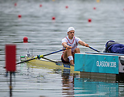 """Glasgow, Scotland, """"2nd August 2018"""", Swiss, Men's Single Sculler, DUI M1X,  Roman ROEOESLI, in his First Stroke of his Heat at the European Games, Rowing, Strathclyde Park, North Lanarkshire, © Peter SPURRIER/Alamy Live News"""