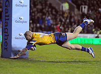 Rugby Union - 2019 / 2020 Gallagher Premiership - London Irish vs. Bath<br /> <br /> Tom Homer of Bath dives over for his 2nd half try,after running the length of the field, at Madejski Stadium.<br /> <br /> COLORSPORT/ANDREW COWIE