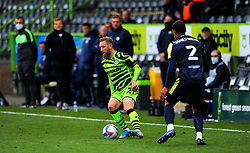 Scott Wagstaff of Forest Green Rovers tries to get past Luther Wildin of Stevenage- Mandatory by-line: Nizaam Jones/JMP - 17/10/2020 - FOOTBALL - innocent New Lawn Stadium - Nailsworth, England - Forest Green Rovers v Stevenage - Sky Bet League Two