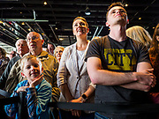 01 MAY 2019 - IOWA CITY, IOWA:  People listen to Joe Biden's campaign speech. He is campaigning in Iowa City and Des Moines today. Iowa traditionally hosts the the first selection event of the presidential election cycle. The Iowa Caucuses will be on Feb. 3, 2020.                      PHOTO BY JACK KURTZ