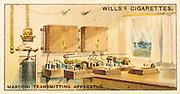Marconi radio transmitting station. Card published London 1915. Chromolithograph.