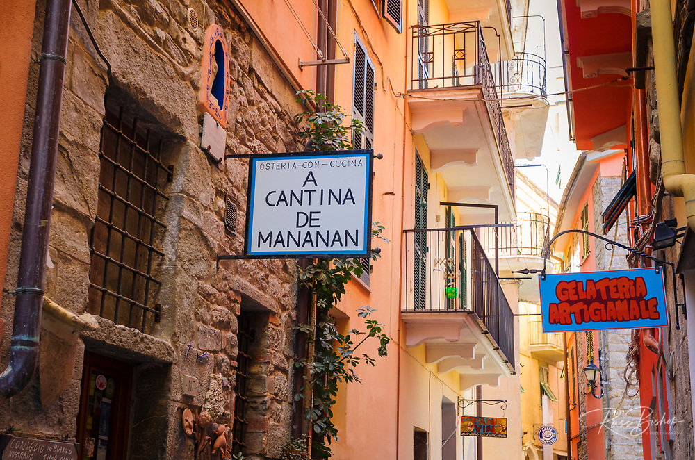 Shops and narrow street in Corniglia, Cinque Terre, Liguria, Italy