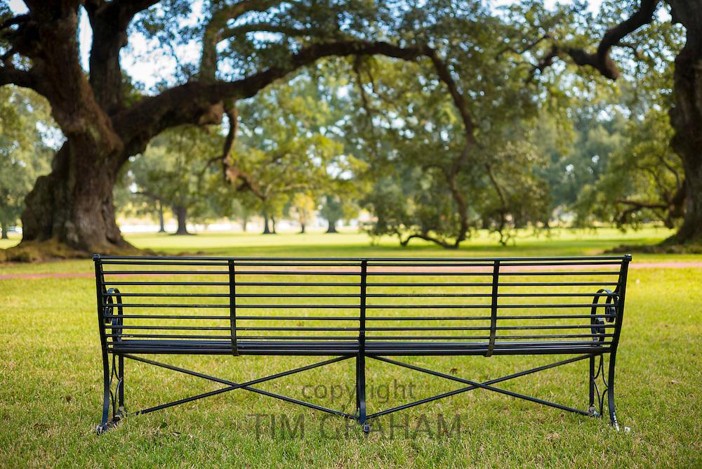 Empty bench in Louisiana, USA
