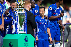 Cesar Azpilicueta looks on as Chelsea celebrate winning the 2016/17 Premier League - Rogan Thomson/JMP - 21/05/2017 - FOOTBALL - Stamford Bridge - London, England - Chelsea v Sunderland - Premier League..