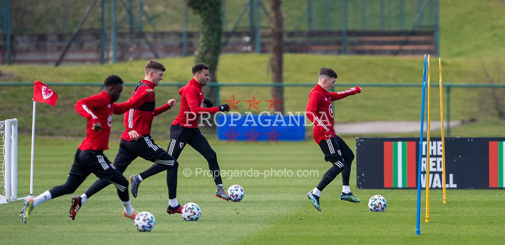 CARDIFF, WALES - Tuesday, March 23, 2021: Wales' Harry Wilson (R) during a training session at the Vale Resort ahead of the FIFA World Cup Qatar 2022 Qualifying game against Belgium. (Pic by David Rawcliffe/Propaganda)