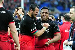 Juan Figallo of Saracens with team-mate Mako Vunipola - Mandatory byline: Patrick Khachfe/JMP - 07966 386802 - 14/05/2016 - RUGBY UNION - Grand Stade de Lyon - Lyon, France - Saracens v Racing 92 - European Rugby Champions Cup Final.