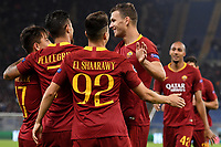 Cengiz Under of AS Roma celebrates with Lorenzo Pellegrini, Stephan El Shaarawy, Edin Dzeko after scoring the goal of 3-0 during the Uefa Champions League 2018/2019 Group G football match between AS Roma and CSKA Moscow at Olimpico stadium Allianz Stadium, Rome, October, 23, 2018 <br />  Foto Andrea Staccioli / Insidefoto