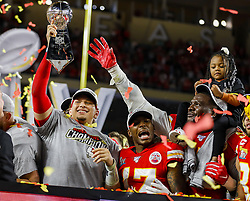 February 2, 2020, Miami Gardens, Florida, USA: Kansas City Chiefs quarterback PATRICK MAHOMES holds the Vince Lombardi Trophy after winning Super Bowl LIV against the San Francisco 49ers, 31-20, at Hard Rock Stadium in Miami Gardens. The Chiefs won, 31-20. (Credit Image: © TNS via ZUMA Wire)