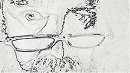 monochrome outline of a man wearing reading glasses pushed down on his nose