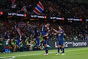 Layvin Kurzawa (psg) celebrated it goal scored from a decisive ball kicked by Neymar da Silva Santos Junior - Neymar Jr (PSG), celebration with Neymar da Silva Santos Junior - Neymar Jr (PSG), Edinson Roberto Paulo Cavani Gomez (psg) (El Matador) (El Botija) (Florestan) during the French championship L1 football match between Paris Saint-Germain (PSG) and Toulouse Football Club, on August 20, 2017, at Parc des Princes, in Paris, France - Photo Stephane Allaman / ProSportsImages / DPPI