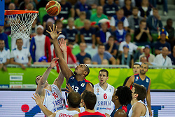 Nikola Kalinic #10 of Serbia vs Boris Diaw #13 of France during basketball match between National teams of Serbia and France in Round 2 at Day 12 of Eurobasket 2013 on September 15, 2013 in Arena Stozice, Ljubljana, Slovenia. (Photo by Vid Ponikvar / Sportida.com)