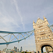Tower Bridge, with Financial District skyline at left