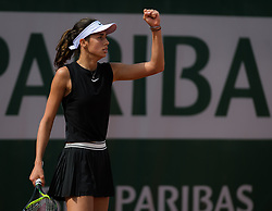 May 23, 2019 - Paris, FRANCE - Olga Danilovic of Serbia in action during the second qualification round at the 2019 Roland Garros Grand Slam tennis tournament (Credit Image: © AFP7 via ZUMA Wire)