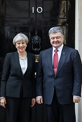© Licensed to London News Pictures. 19/04/2017. London, UK. British Prime Minister Theresa May meets Ukrainian President Petro Poroshenko in Downing Street. Yesterday, Theresa May called a snap General Election, to take place on 8 June 2017. Photo credit : Tom Nicholson/LNP
