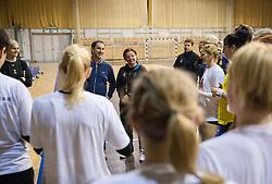 and Marta Bon during practice session of Slovenian Women handball National Team three days before match against Serbia, on October 24, 2013 in Arena Tivoli, Ljubljana, Slovenia. (Photo by Vid Ponikvar / Sportida)