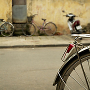 Parked bicycles parked at street of Hoi AN