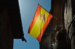 Spanish flag flying from a house in Adahuesca, Spain<br /> <br /> (c) Andrew Wilson | Edinburgh Elite media