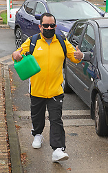 © Licensed to London News Pictures 28/09/2021.<br /> Mottingham, UK, This man walked to the station with a Jerry can.  Traffic queues around Mottingham BP petrol station. A tanker has just delivered fuel to Mottingham BP station in South East London. Within minutes of the tanker arriving motorists started to queue blocking roads. BP has started to ration petrol and diesel due to a shortage of truckers. Photo credit:Grant Falvey/LNP