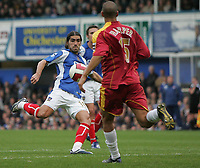 Photo: Lee Earle.<br /> Portsmouth v Reading. The Barclays Premiership. 28/10/2006. Portsmouth's Pedro Mendes (L) scores their third.