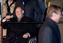 """File photo dated December 8, 2016 of Grand Duke Jean of Luxembourg attending the ceremony marking the 125th anniversary of the Luxembourg dynasty in Luxembourg. Grand Duke Jean has died at the age of 98 with his family at his bedside. He had recently been admitted to hospital suffering from a pulmonary infection. Grand Duke Henri announced the death of his father in a statement saying, """"It is with great sadness that I inform you of the death of my beloved father, His Royal Highness Grand Duke Jean, who has passed away in peace, surrounded by the affection of his family."""" Photo by Robin Utrecht/ABACAPRESS.COM"""